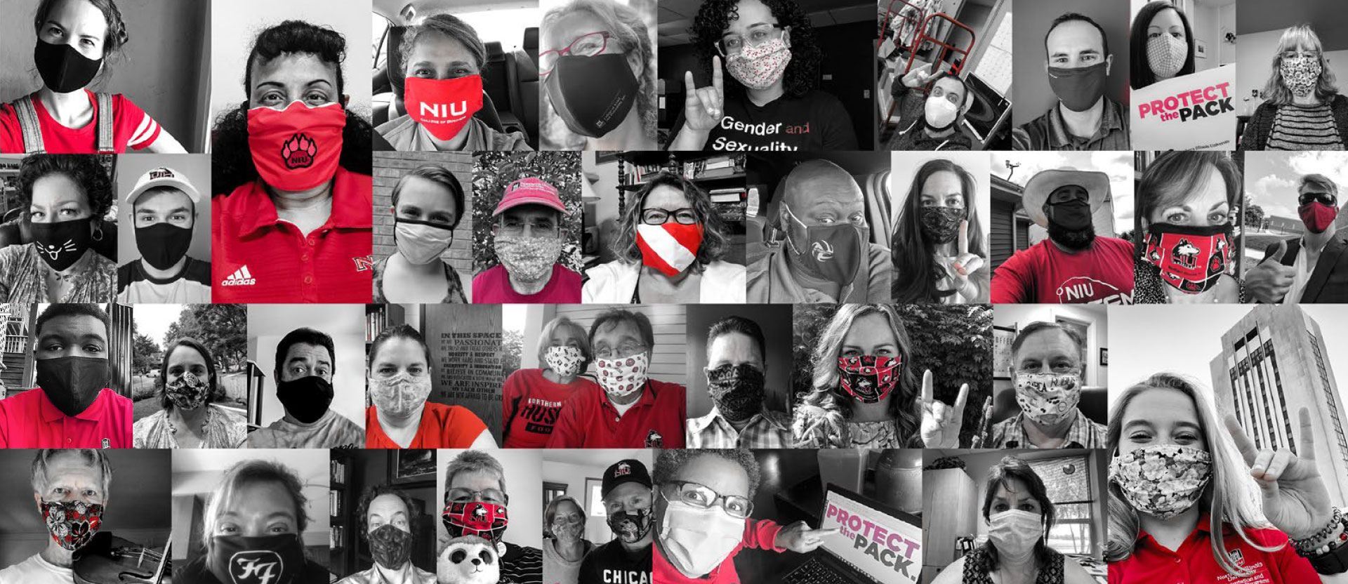 Collage of NIU community members wearing face masks