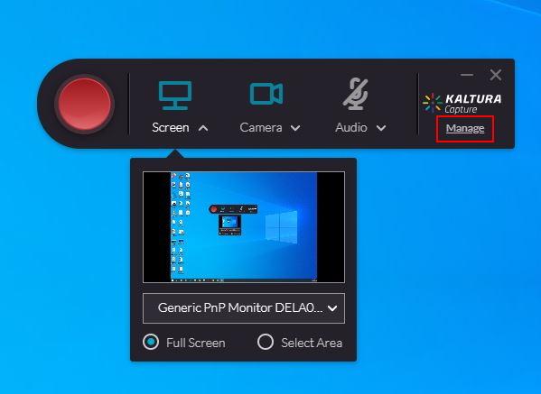 Audio settings for Kaltura Capture
